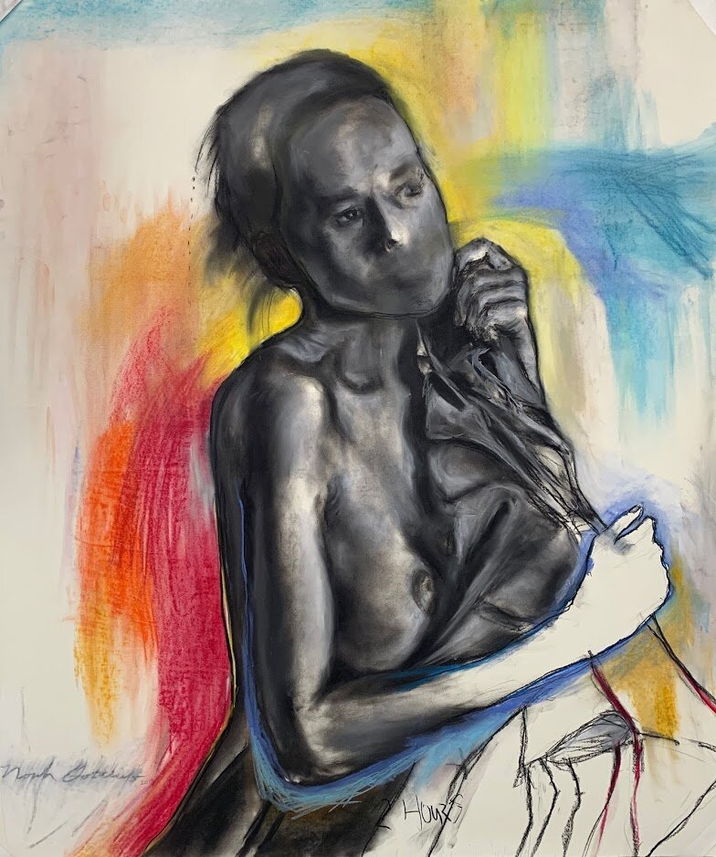 """""""Seated Woman"""" - 42'x 42"""" Charcoal, Soft Pastel, Pencil on Paper"""
