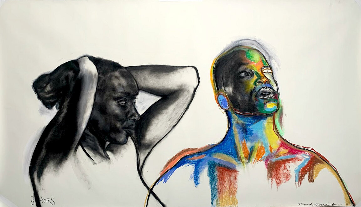 """""""Reflection"""" - 42""""x 82"""" Charcoal, Soft Pastel, Pencil on Paper"""