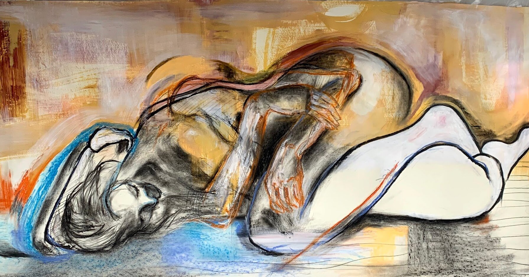 """""""In My Arms"""" - 5' x 2.5', Acrylic, Gesso, Oil Pastel, Soft Pastel, Charcoal, Pencil on Paper"""