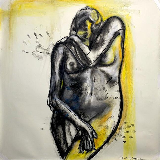 """""""Two Bodies Embrace"""" - 42""""x 42"""" Charcoal, Soft Pastel, Pencilon Paper"""