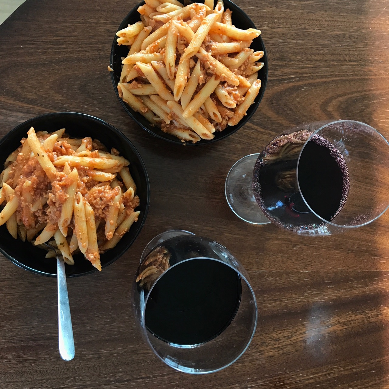 Pasta with red sauce and vegan crumbles, all found at a Bonus!