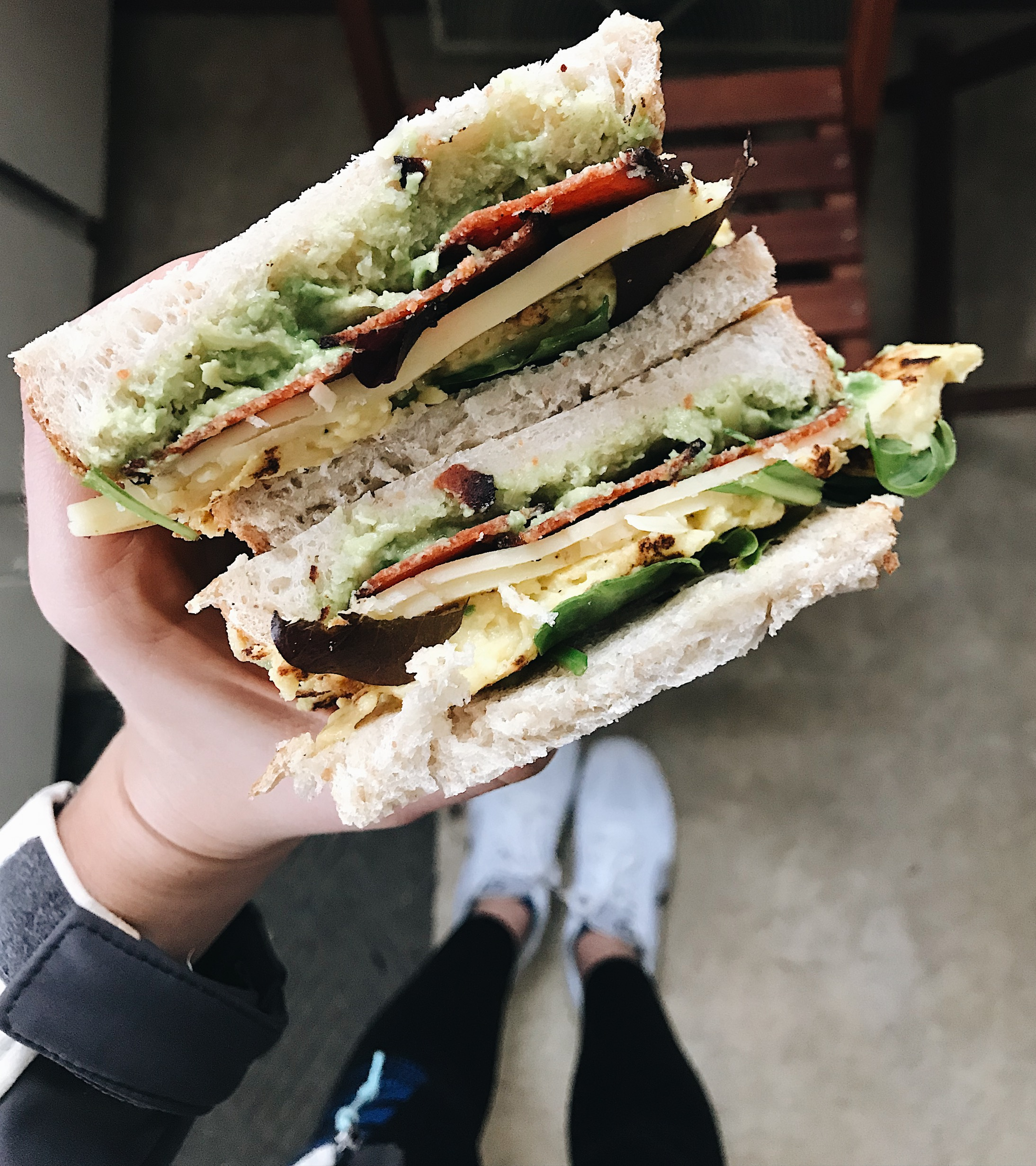 Vegan bacon, egg and cheese with avocado on sourdough!