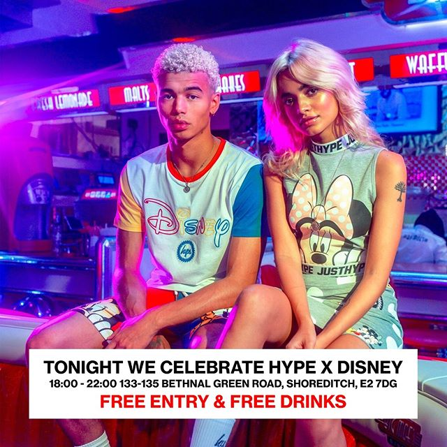 Tonight we celebrate the launch of Hype x Disney. Free Entry + Free Drinks in Shoreditch 18:00 - 22:00. -- 250 Limited Disney x Hype goodie bags ✅ Mickey Popcorn ✅ Mickey Candyfloss ✅ FREE! drinks ✅ Disney Photobooth ✅ HYPE. x Disney grabber machine ✅ Personalised t-shirt printing ✅