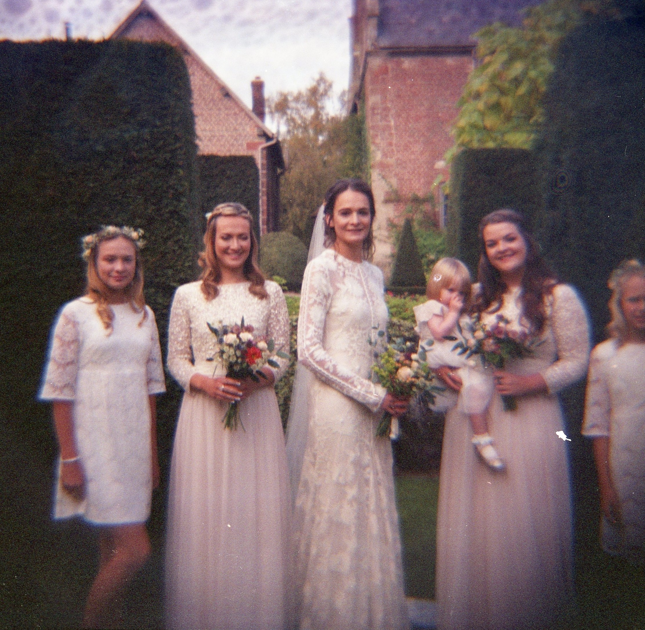 Camillas bridal party imperfect Diana Film photo taken at Pimhill Barn 2016