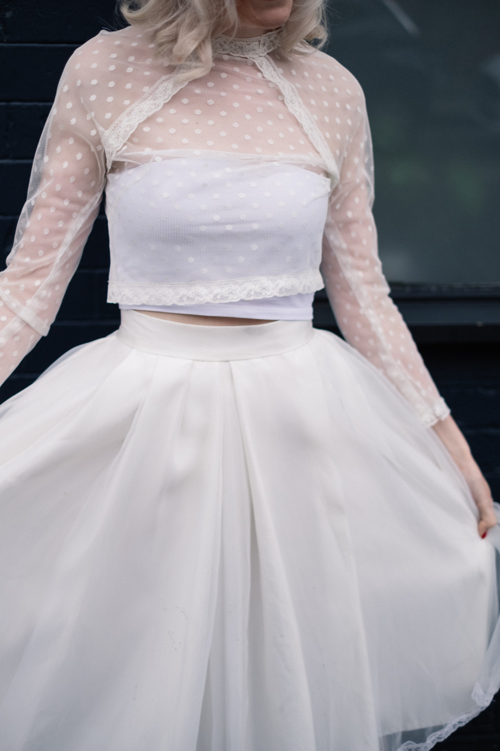Close up of the wedding dress designed and hand made by Wilderness Bride
