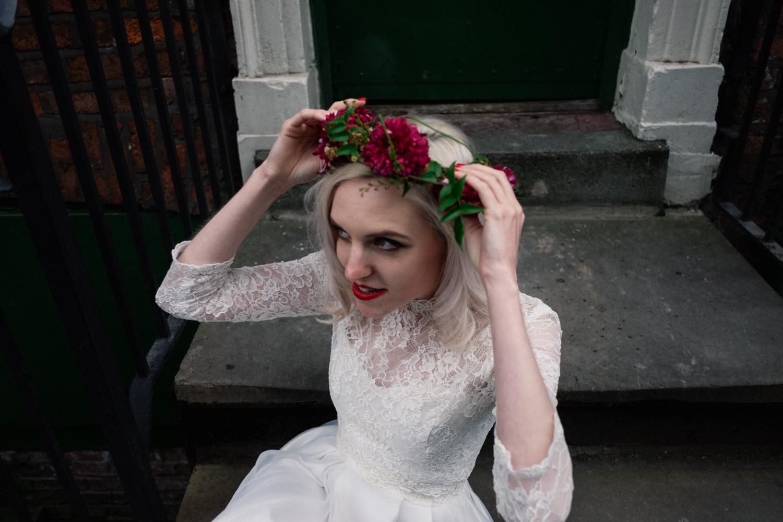 Martha arranges her flower crown