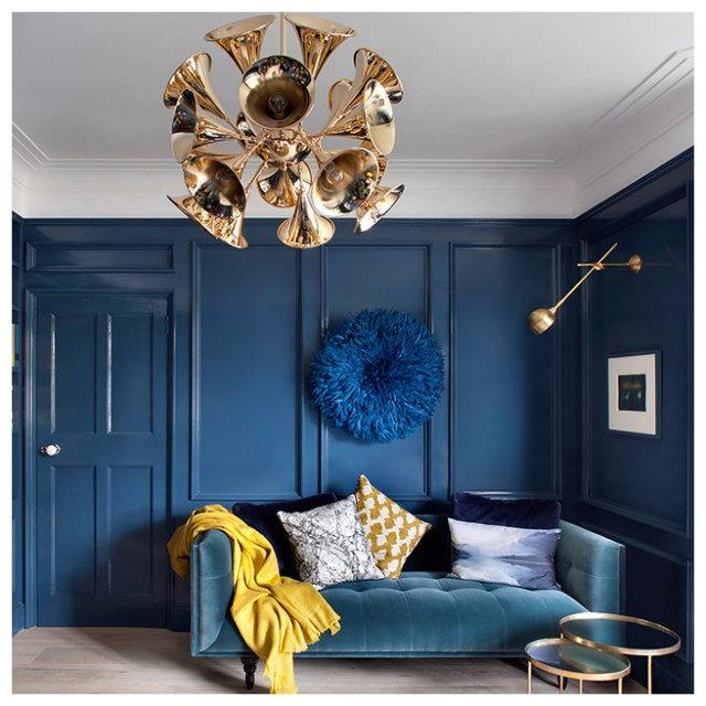 Jewel Tones - Bold blues and royal violets will add color and style to every space. Try painting a single wall a jewel color, then use throw pillows, blankets, and rugs to tie the room together. Gem tones make stunning accent colors. For a trendy look, try using bold and bright complementary colors together.