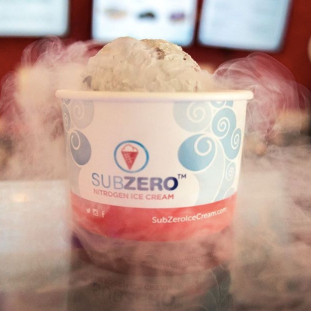Sub Zero Nitrogen Ice Cream - For those that want their ice cream experience to feel a lot like a high school science experiment, then you should check out Sub Zero Nitrogen Ice Cream! This special ice cream is created using nothing other than liquid nitrogen making this desert extra cold! With fun flavors like Key Lime Voltage and Chocolate Conduction, there is something for everyone to enjoy.
