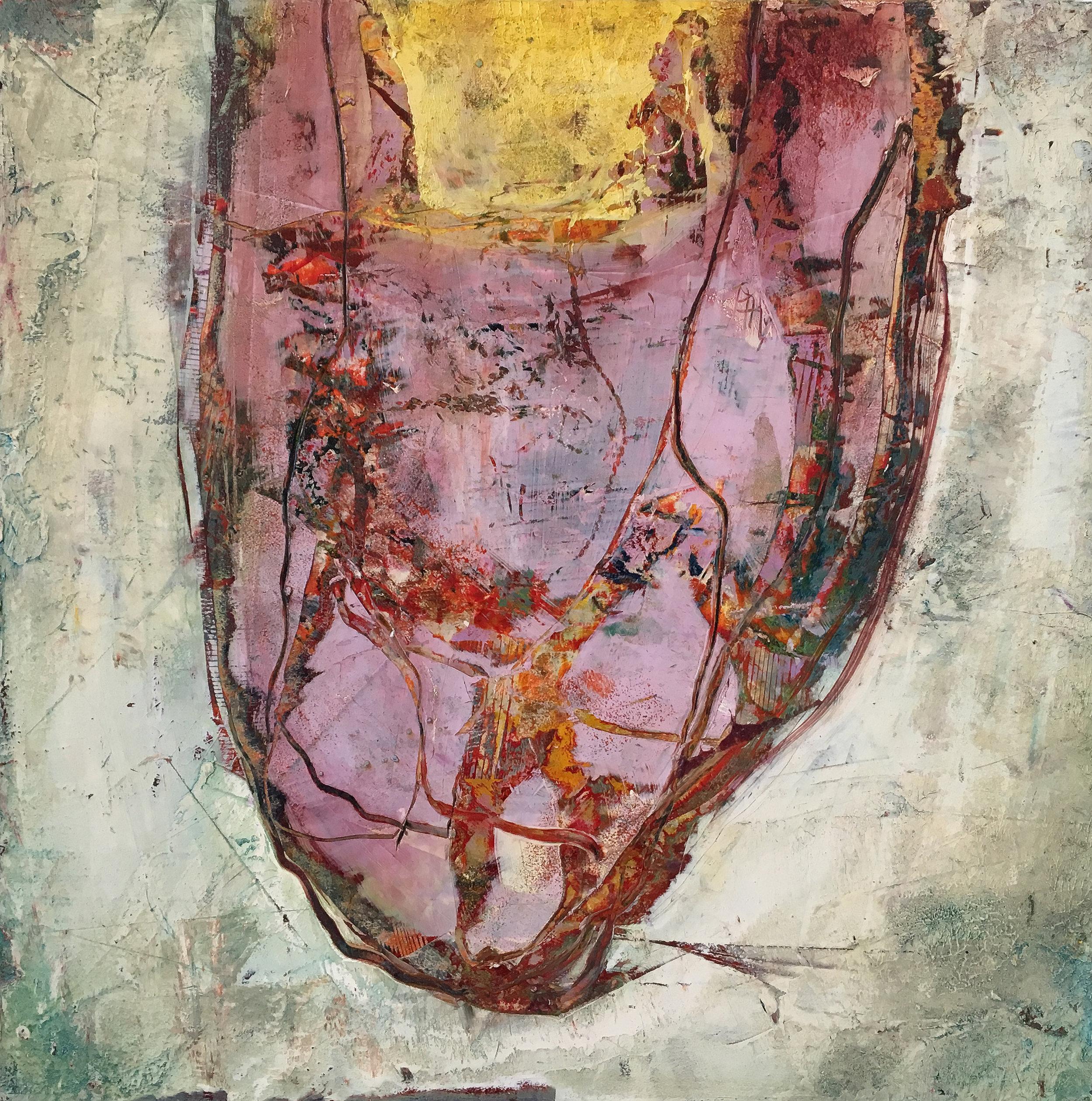 """Heart Nest,   oil on cradled panel, 12"""" x 12"""", 2017"""