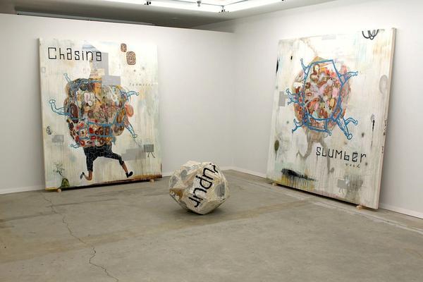 "John Yoyogi Fortes ,  Slumberweed  (right canvas), oil, acrylic, glitter, charcoal, pencil, mixed media on canvas, 87"" X 84.25, 2015"