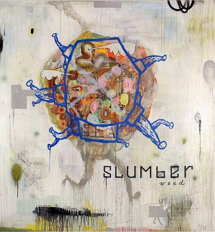 "John Yoyogi Fortes ,  Slumberweed , oil, acrylic, glitter, charcoal, pencil, mixed media on canvas, 87"" X 84.25, 2015"