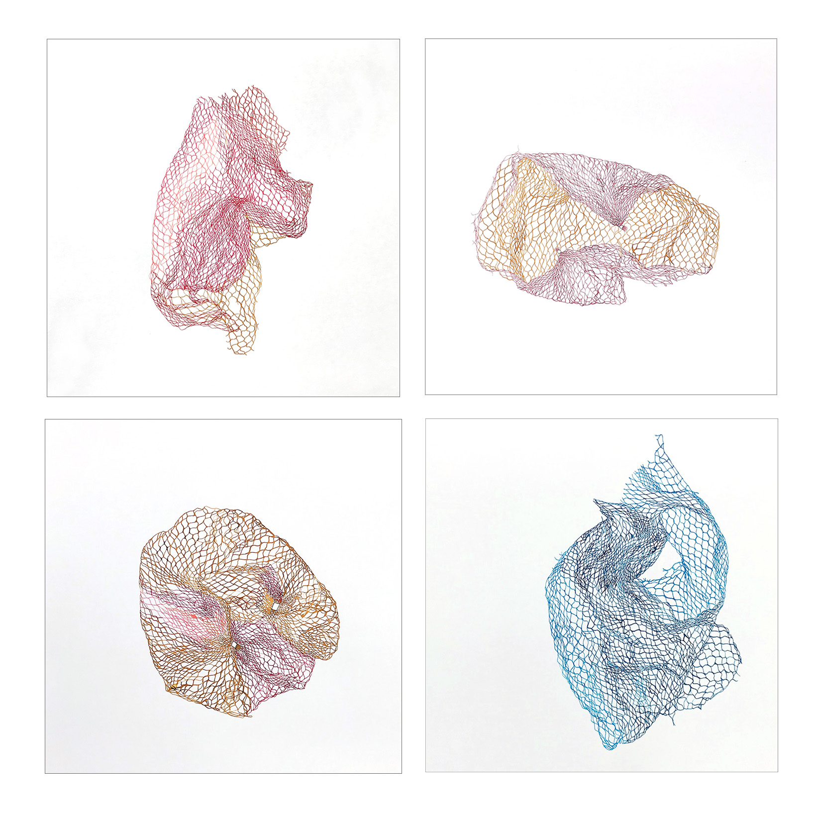 "Jenny Phillips ""Netted Bags: B, F, A and E"" (4 framed drawings), Watercolor on paper, each 14.75"" x 14.75"" x 1.5"", 2019"