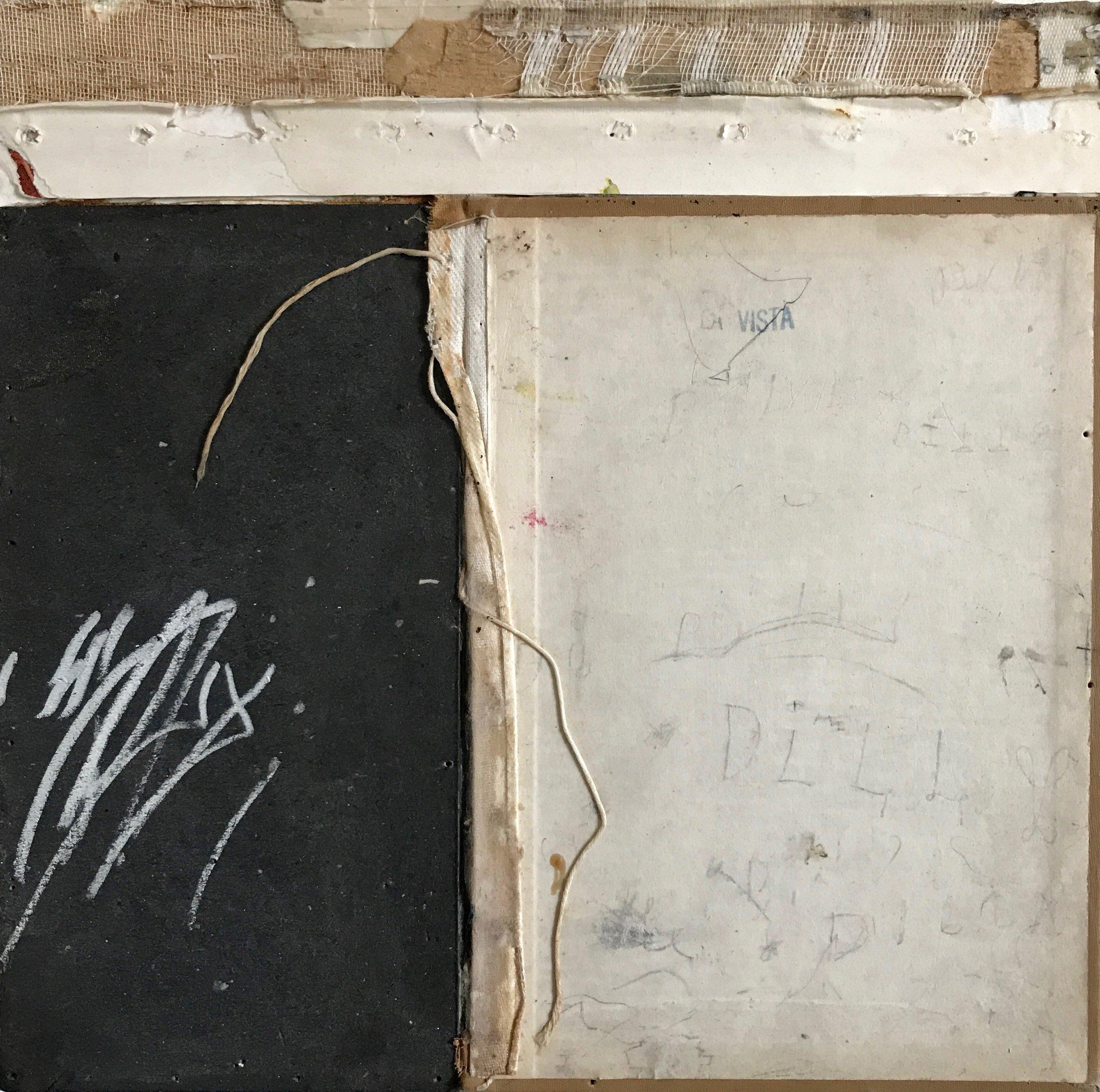 """Carol Dalton, """"La Vista"""" mixed media and book fragments on panel, 10x10x1, 2019"""