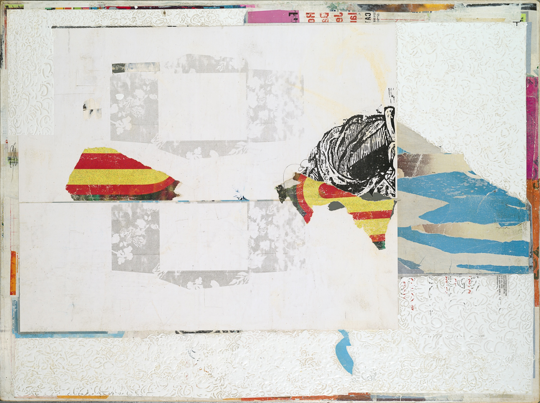 "Michael Cutlip, ""End Game"", Mixed Media Collage on Panel, 30x40x2, 2014"