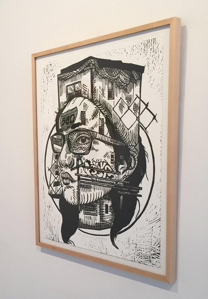 "Pavel Acevedo, ""La Mission/580 Fwy"", Linocut/paper, 24 x 18, framed, 2017"