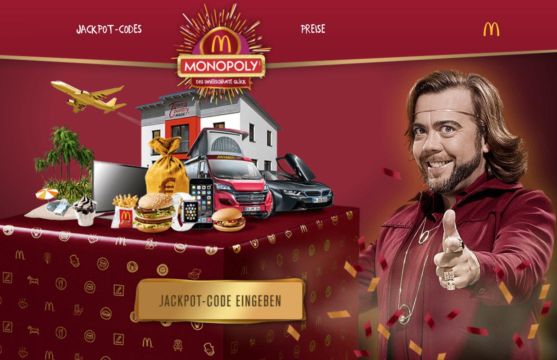 jackpot code mcdonalds eingeben