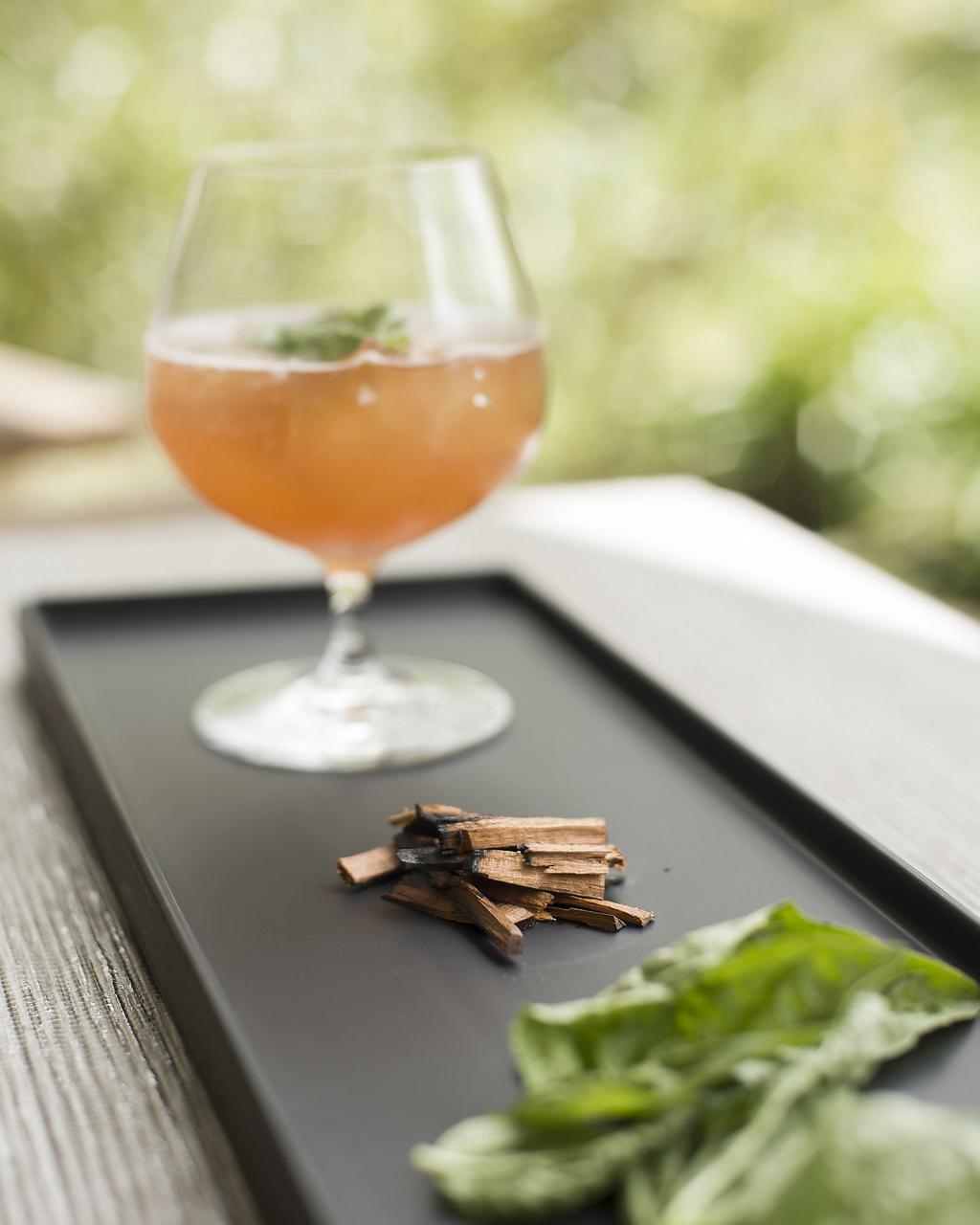 SMOKED BASIL   garden basil, fresh pressed lime, cherry wood smoke, maraschino liqueur, aged rum