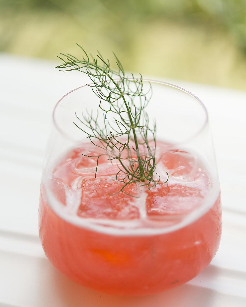 BERRY BRAMBLE   fresh pressed raspberry and lemon, fennel, local honey, gin, raspberry liqueur float