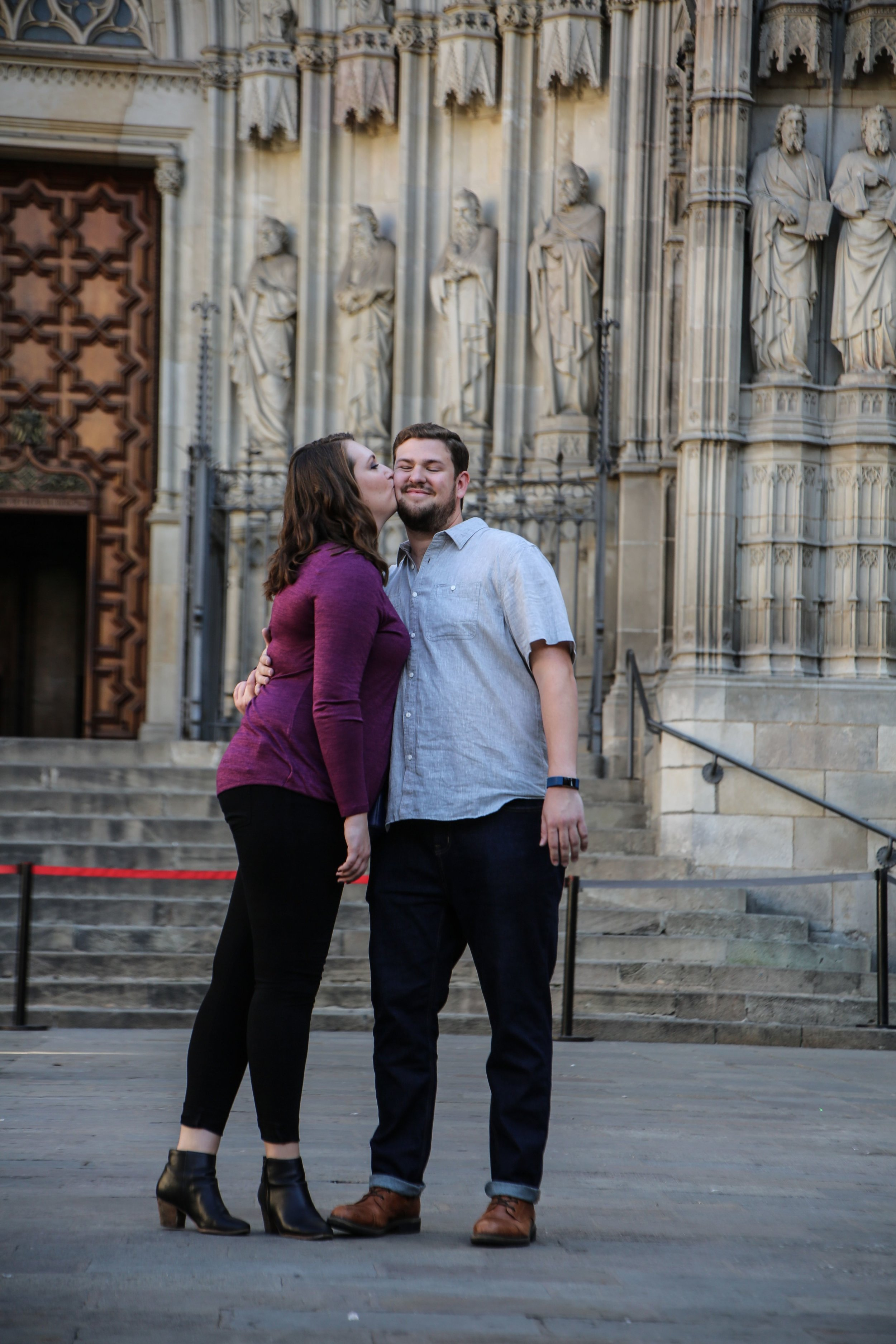 It happened in Barcelona the day Catalonia declared independence! - We got engaged to the sound of canons in the background. While Catalonia declared independence from Spain, Andrew declared his love for me while our fellow Airbnb photo tour participants looked on.-Stephanie »wedding date: September 22, 2018