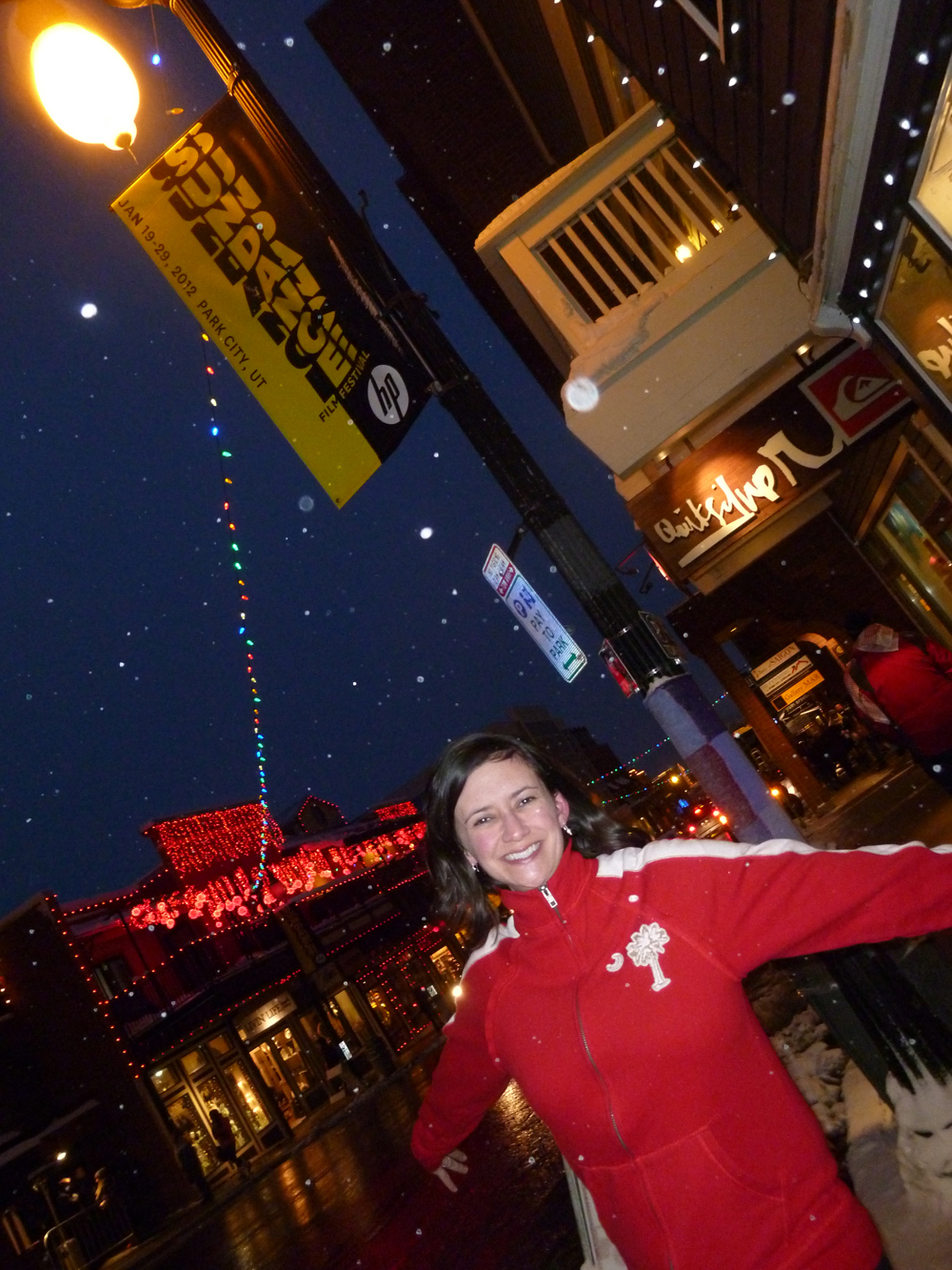 TDH Producer/Director Maria White Mebane shows her S.C. pride on Main St. in Park City.