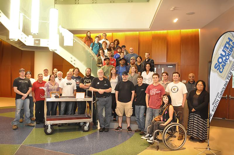 CAMERA ASSISTANT WORKSHOP attendees with Sarah Jones' camera cart.