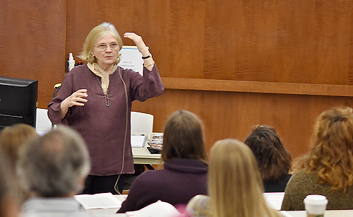 Legendary Script Supervisor Martha Pinson speaks to the audience during the Script Supervising Workshop, Jan. 28 at Trident Technical College in North Charleston, SC.