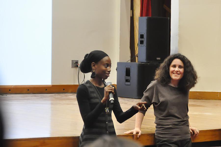 Indie Grants filmmakers DeShantell Singleton ( La Nanita ) and Ayala Kalus Asherov ( Pencil Point ) during Q&A at a screening of their films.