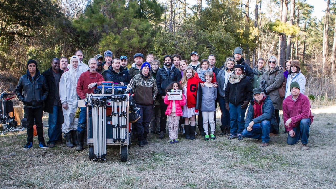Gone Away cast and crew gather around Sarah Jones' camera cart. Sarah was a TTC alum and beloved member of the South Carolina production family.
