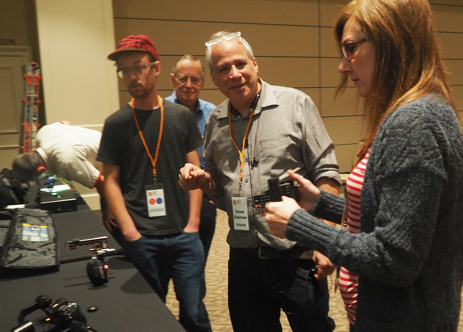 Steven walks through some of the demonstrated gear with workshop attendees, during the hands-on portion of the seminar.