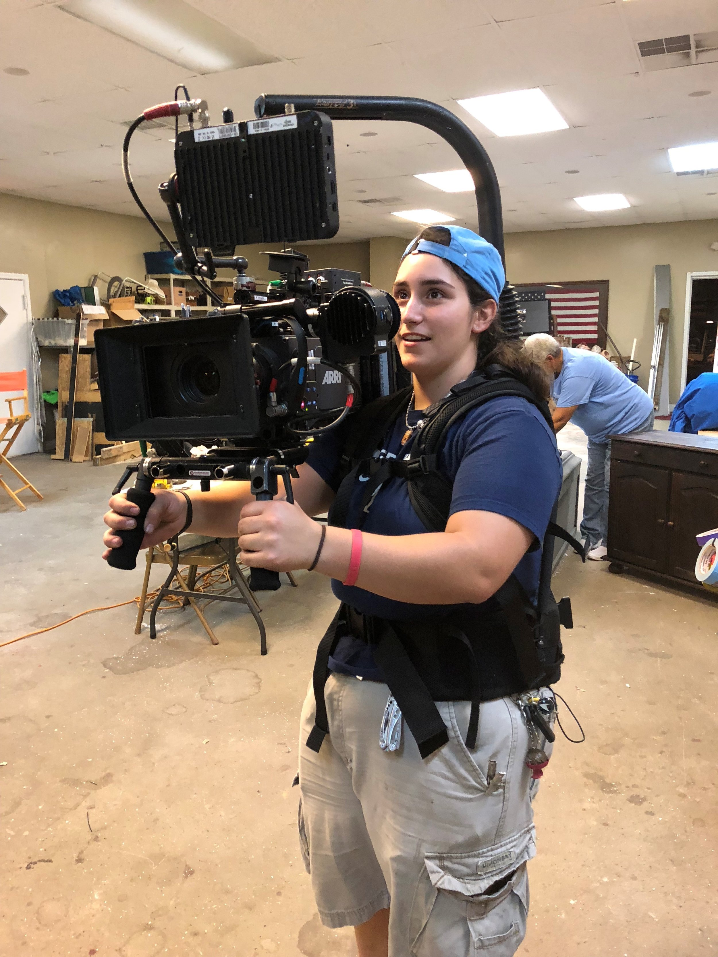 Trident Tech student/Camera Utility tries out the  camera rig on the set of  Whistler's Mother .