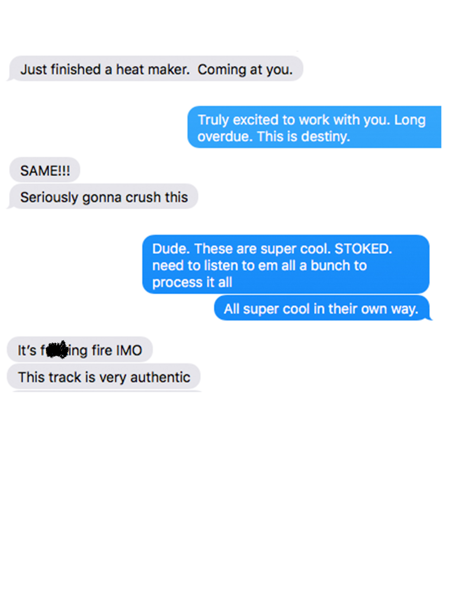 A typical text conversation with Curt.