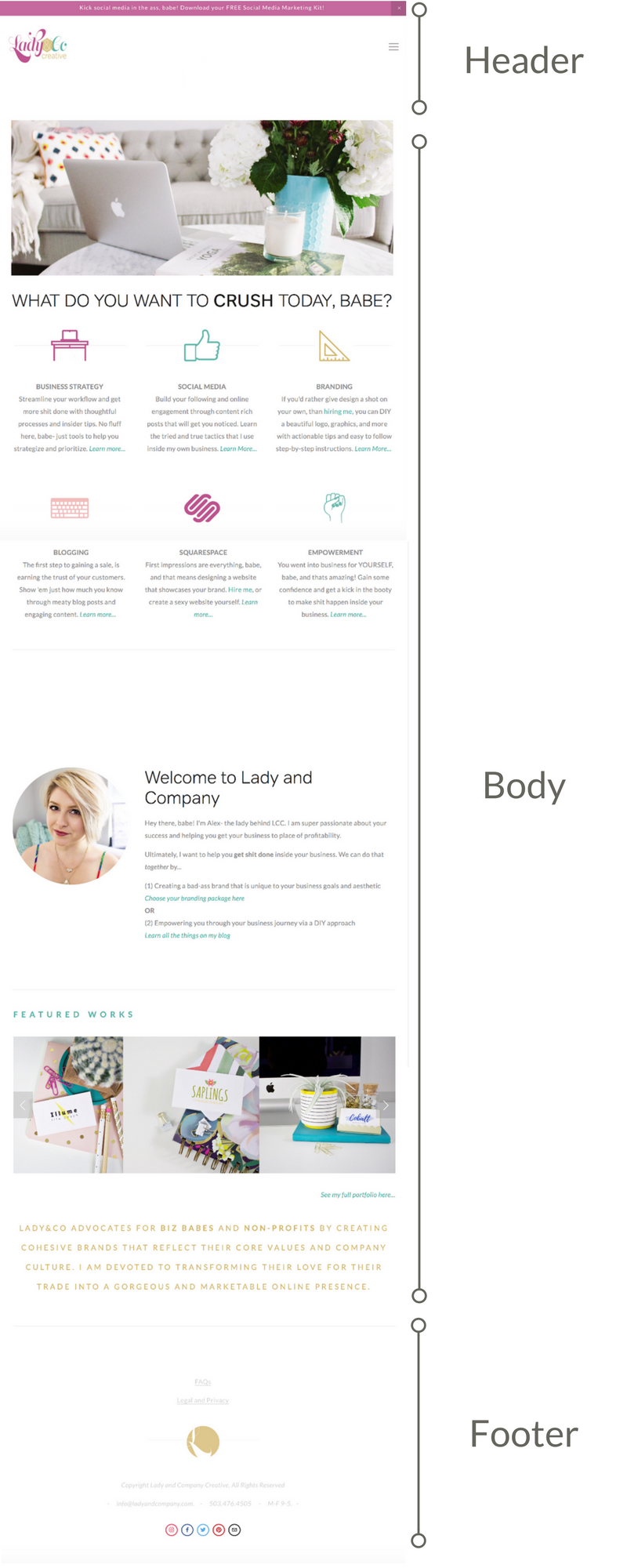 Anatomy of a Homepage | The 5 Pages Every New Business Website Should Have | Lady and Company