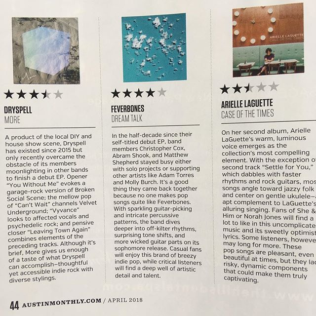"Big thanks to @bryancparker for the kind words and thoughtful review of our new record for @austin_monthly magazine! ⭐️⭐️⭐️⭐️ ""Dream Talk"" is out next Friday, 4/13 - follow the link in our profile to pre-order from @athrecords!"