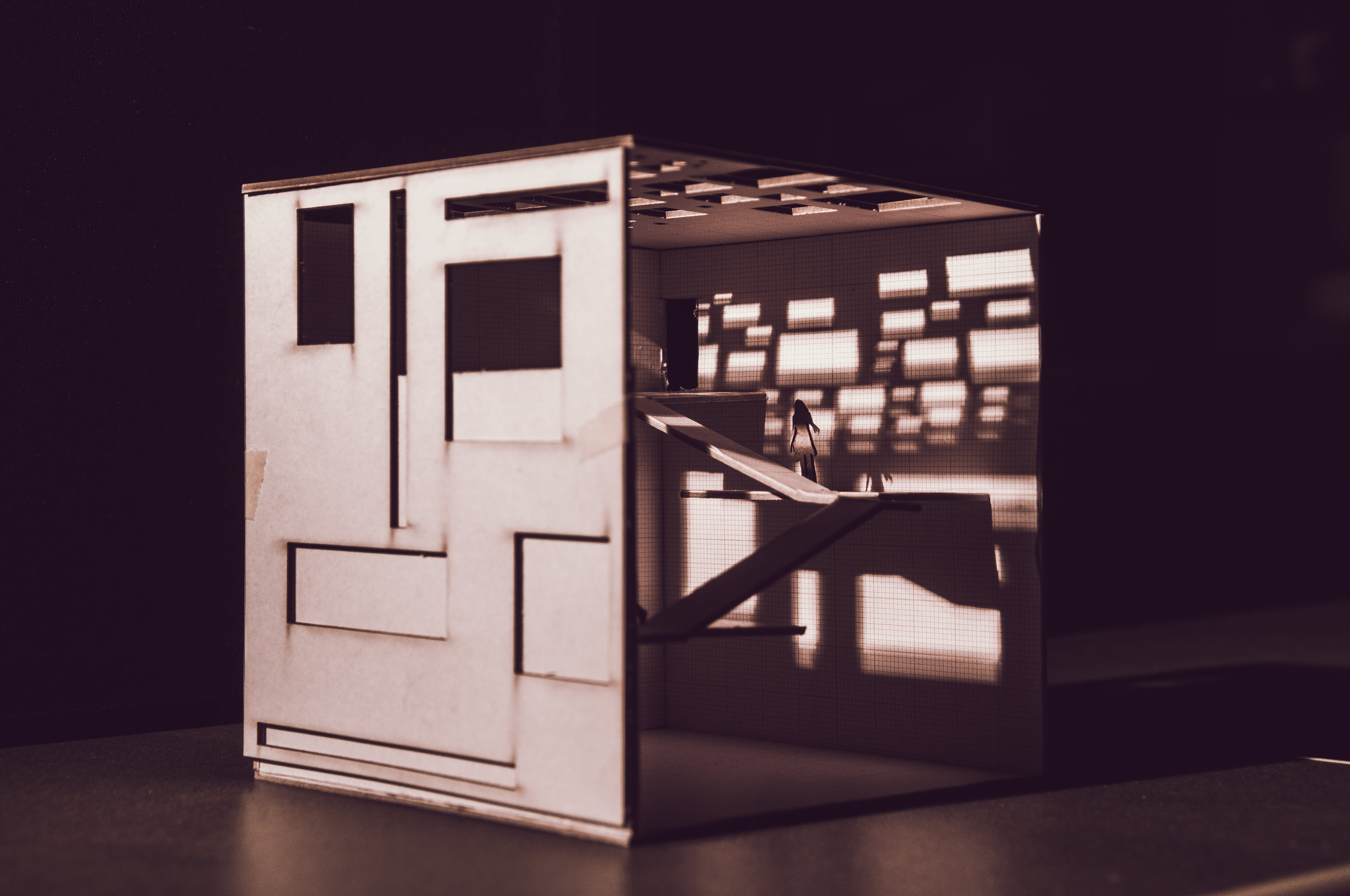 I made this concept model with the intention of the building as an object that manipulates light.