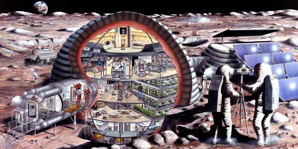 Artist concept of a moon colony via NASA