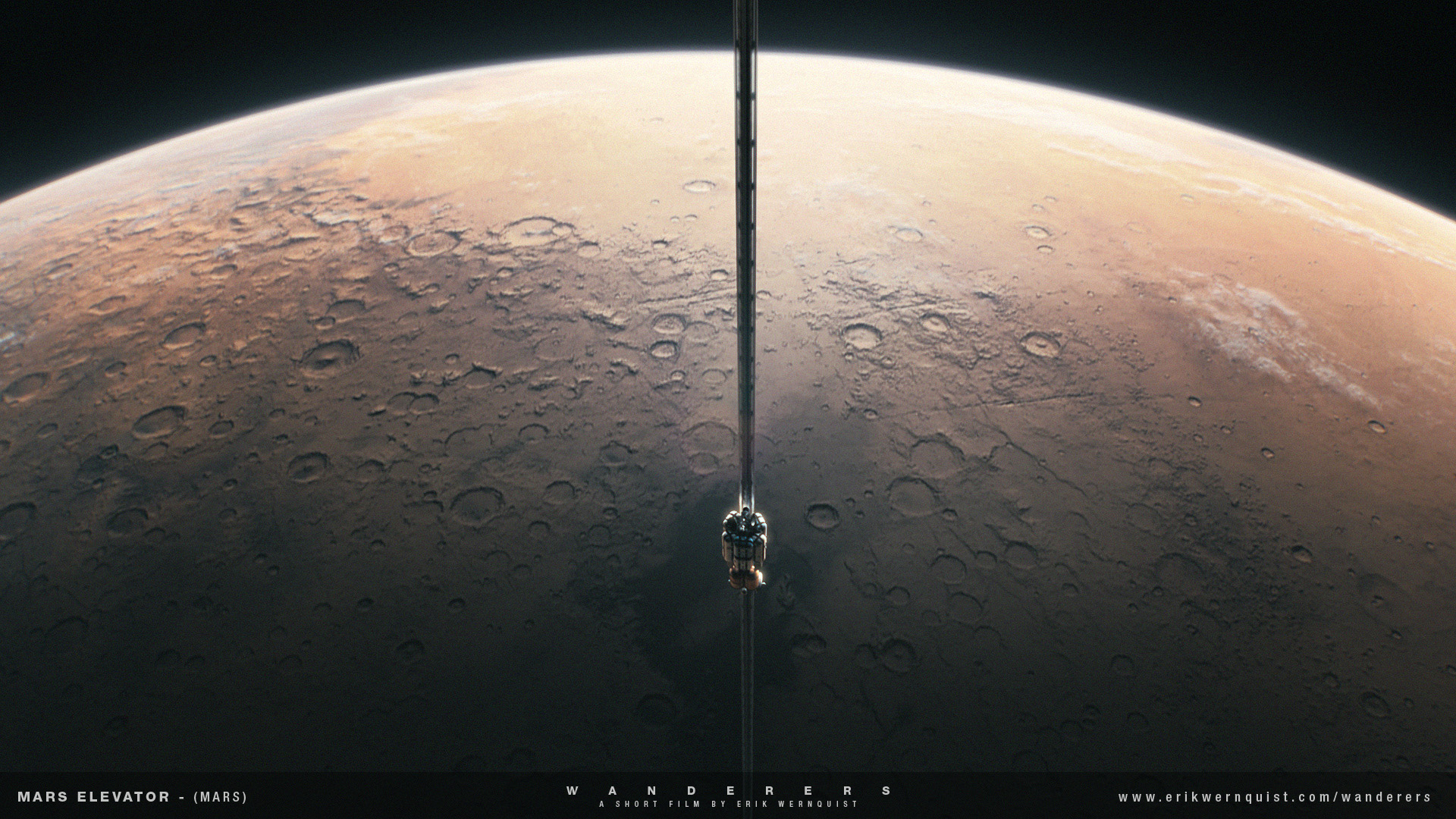 """""""This shot follows the cabin of a space elevator descending on a cable towards the northern parts of the Terra Cimmeria highlands on Mars. A large settlement, hinted as glowing lights in the dark, can be seen far below on the ground. One of Mars' two moons - Phobos - is seen above the cabin to the left of the cable in the beginning of the shot."""" This image was produced by Erik Wernquist."""