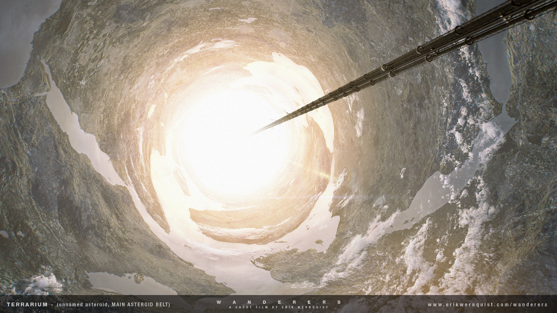 """Figure 2 - click to enlarge ( Source )  """"This shot shows the inside of the asteroid from the previous scene. Just as I wrote about that scene, this is a highly speculative vision of an impressive piece of human engineering - a concept that science fiction author Kim Stanley Robinson calls a """"terraruim"""" in his novel """"2312"""". It is also not unlike what Arthur C. Clarke described in his novel """"Rendezvous with Rama"""".  What we see here is the inside of a hollowed out asteroid, pressurized and filled with a breathable atmosphere. Like I described in the previous scene, the whole structure is put into a revolving rotation, simulating the effect of gravity toward the inside """"walls"""" of the cylinder shape we see. The structure in this scene has a diameter of about 7 kilometers and revolves with a speed of 1 rotation every 2 minutes, simulating the effect of 1g (the gravity pull we feel on Earth) at the surface of the inside. This place is also filled with water, creating lakes and seas wrapped along with the landscape. An artificial sun is running along a rail in the middle of the space, simulating a daylight cycle.  This scene is of course built from scratch, but I used countless satellite photos of the Earth to texture the landscape. I actually used a slightly warped world map to create the outlines between land and water, as some may notice a couple of familiar shorelines.""""\(^{[3]}\)"""