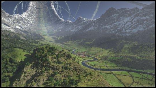 Artist's depiction of a ring world. Credit:http://richardfrazer.com/