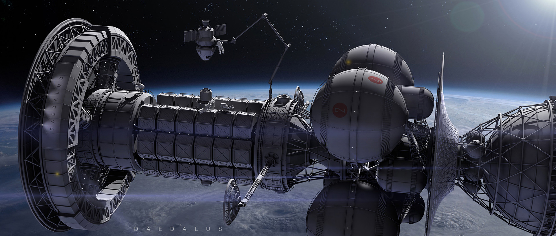 An artist's depiction of the starship proposed by Project Daedalus.\(^{[5]}\)