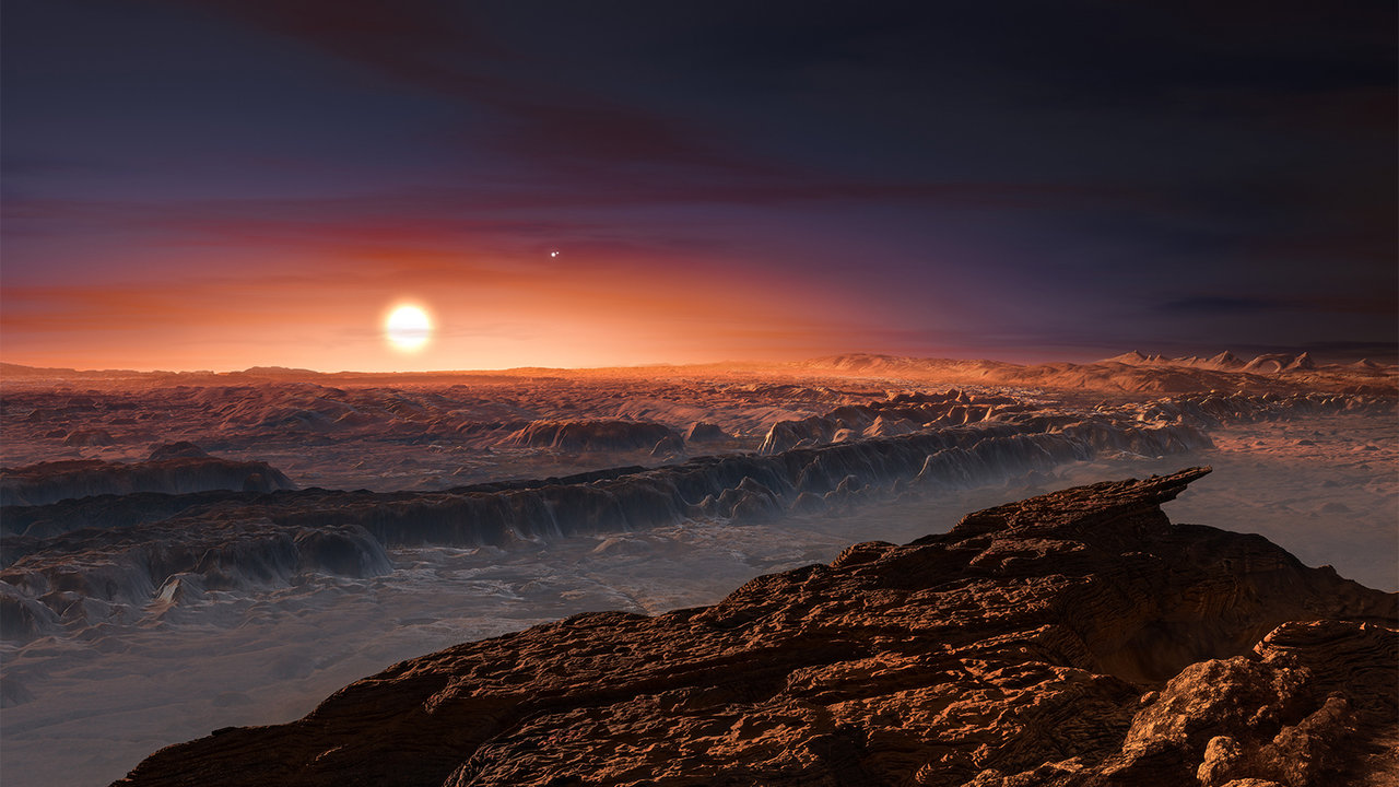 """This artist's impression shows a view of the surface of the planet Proxima b orbiting the red dwarf star Proxima Centauri, the closest star to the solar system. The double star Alpha Centauri AB also appears in the image. Proxima b is a little more massive than the Earth and orbits in the habitable zone around Proxima Centauri, where the temperature is suitable for liquid water to exist on its surface.""\(^{[1]}\) https://www.nasa.gov/feature/jpl/eso-discovers-earth-size-planet-in-habitable-zone-of-nearest-star   Credits: ESO/M. Kornmesser"