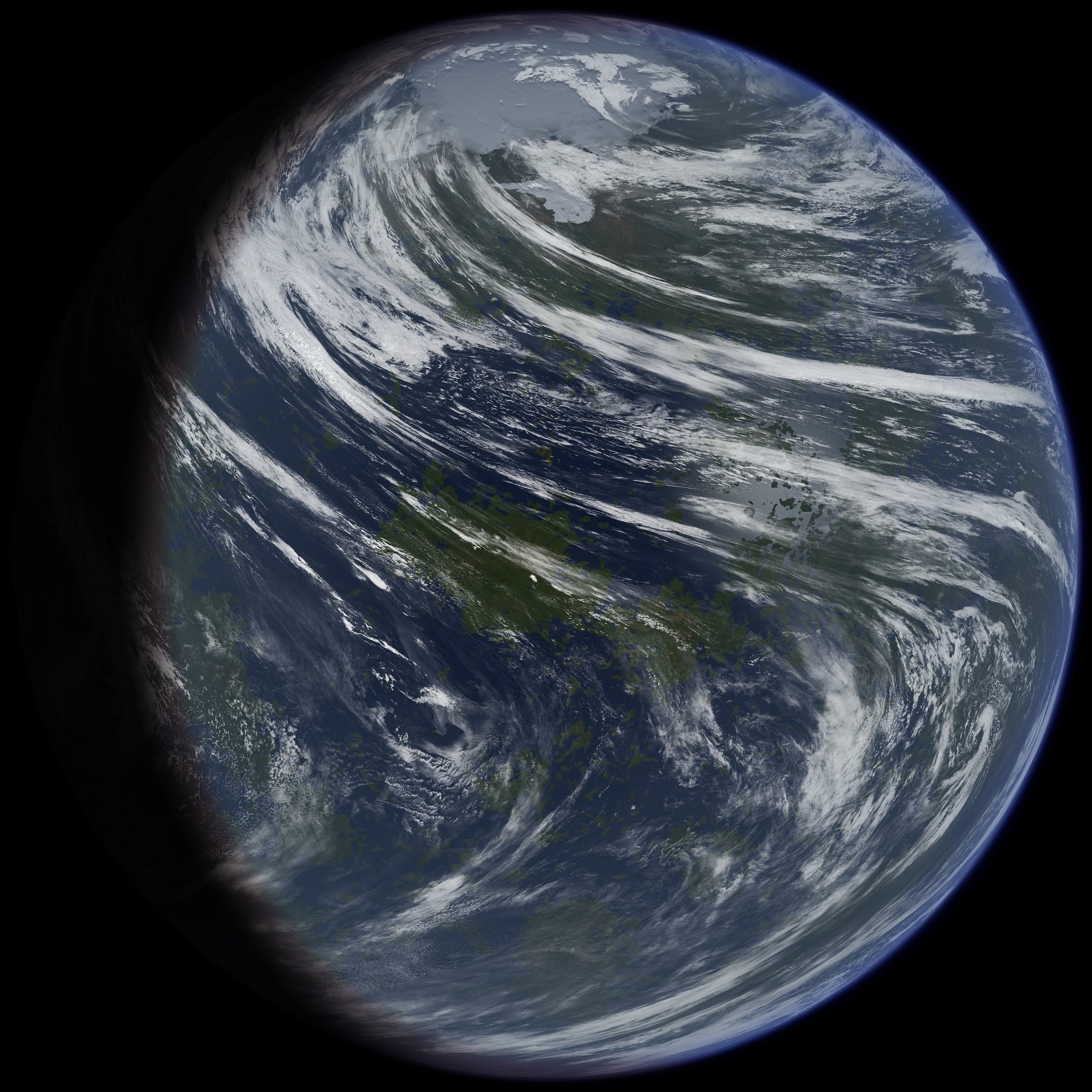 """A conceptual picture I made of Venus if it were terraformed. (Credit: Daein Ballard) Notice the interesting cloud formations and that the planet has polar caps. I decided to show the planet this way after studying Venus' atmosphere. The two Hadley cells the planet has stop at 70 degrees north and south. So the polar regions are cut off from the warm air. Also the slow rotation of the planet causes the clouds to whip around the planet very fast, especially at the equator, to balance out the temperature difference between day and night sides of the planet.""\(^{[5]}\)  Image credit:   Ittiz at the English language Wikipedia [GFDL (http://www.gnu.org/copyleft/fdl.html) or CC-BY-SA-3.0 (http://creativecommons.org/licenses/by-sa/3.0/)], via Wikimedia Commons"
