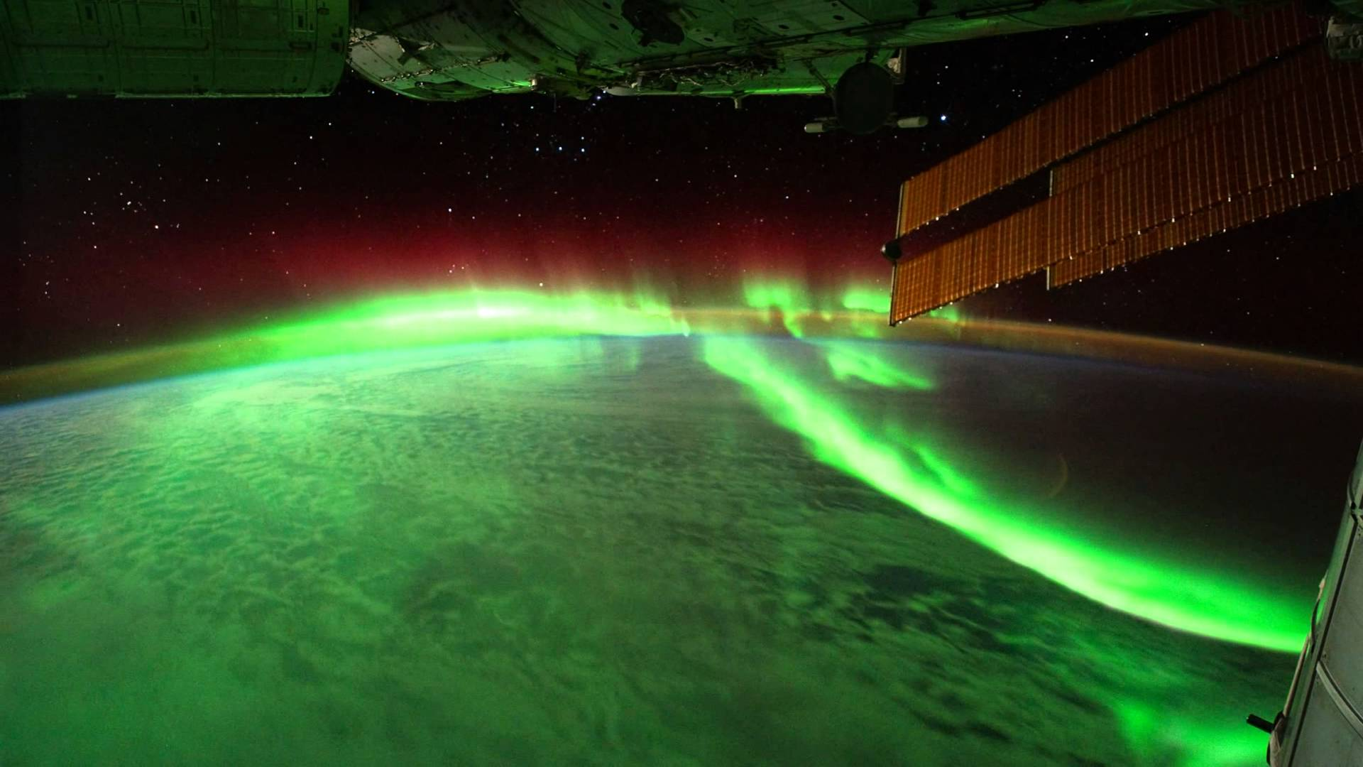 Image of auroras just above the Earth's surface obtained by the International Space Station.  Image credit: NASA
