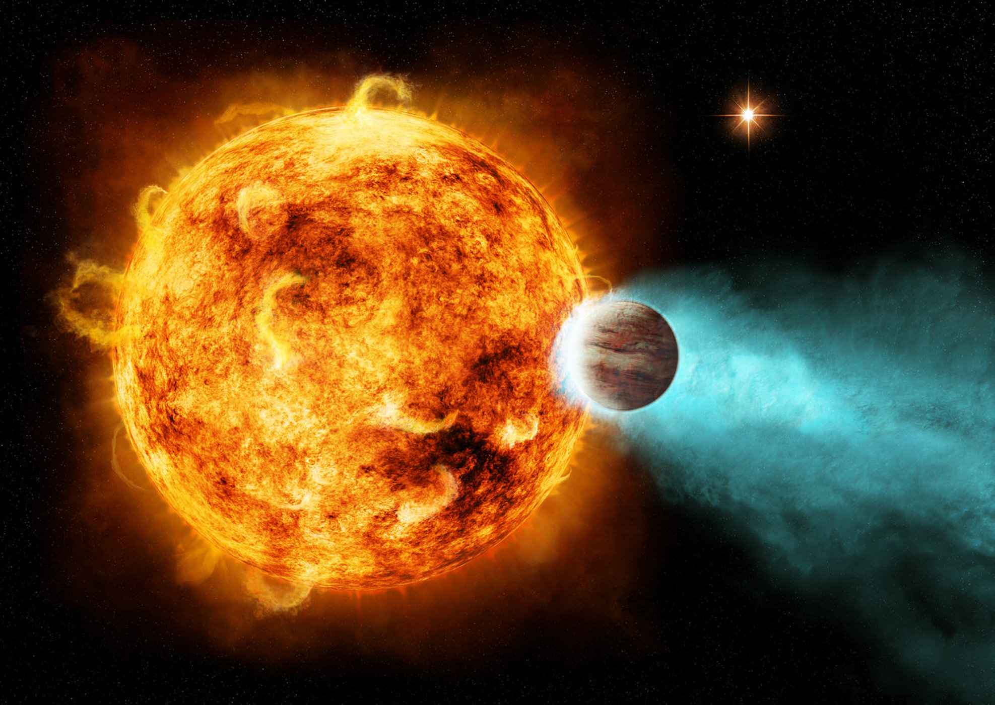 Artist's depiction of a so-called hot Jupiter orbiting its planet star.