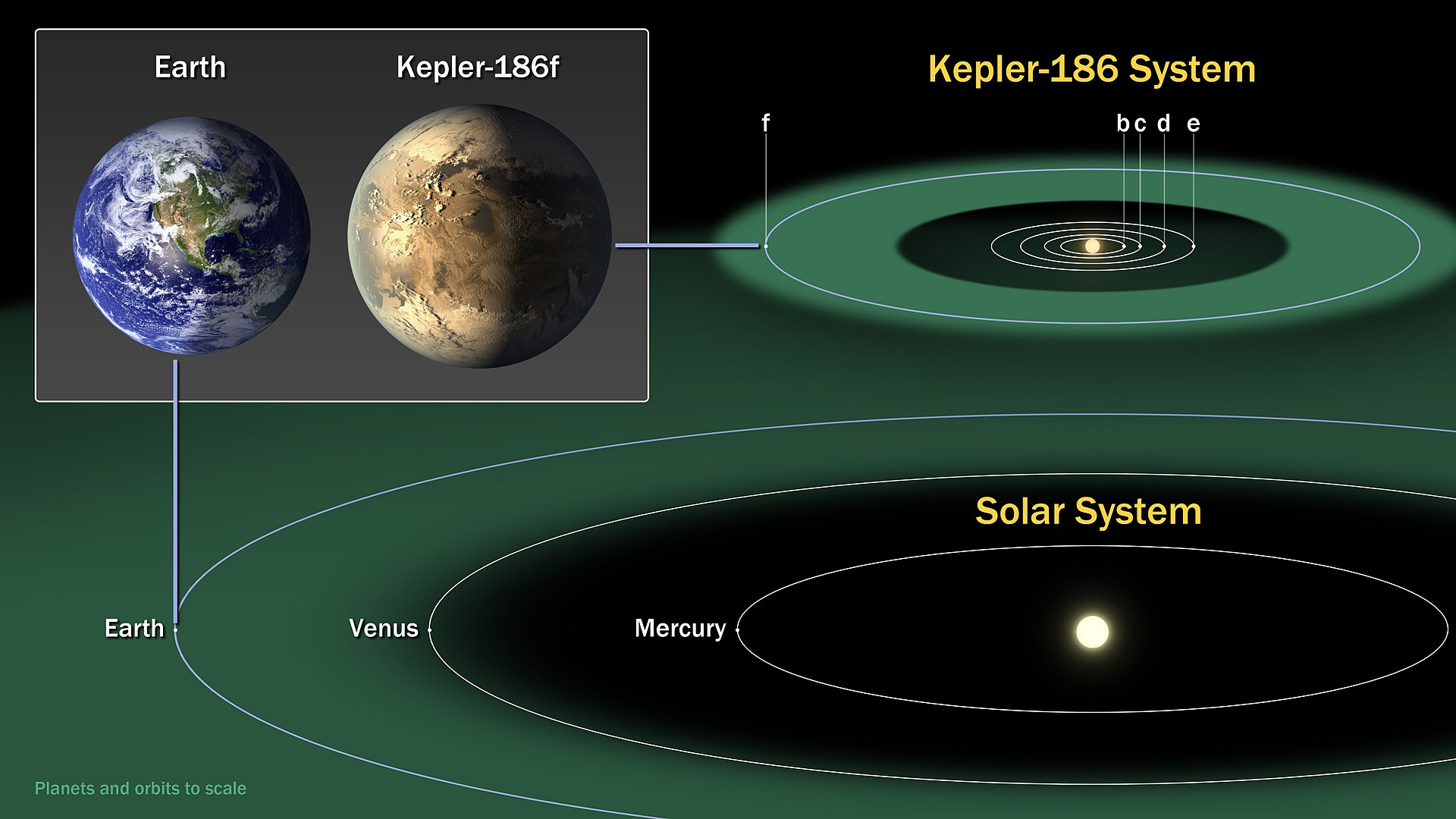 Size comparison of Kepler-186f (artist's impression) with Earth along with their projected habitable zones.