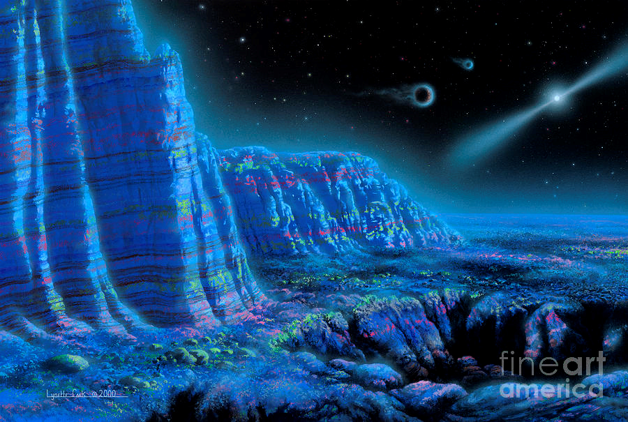 Artist's depiction of an exoplanet orbiting a pulsar. Due to the pulsar's radiation, the exoplanet glows.