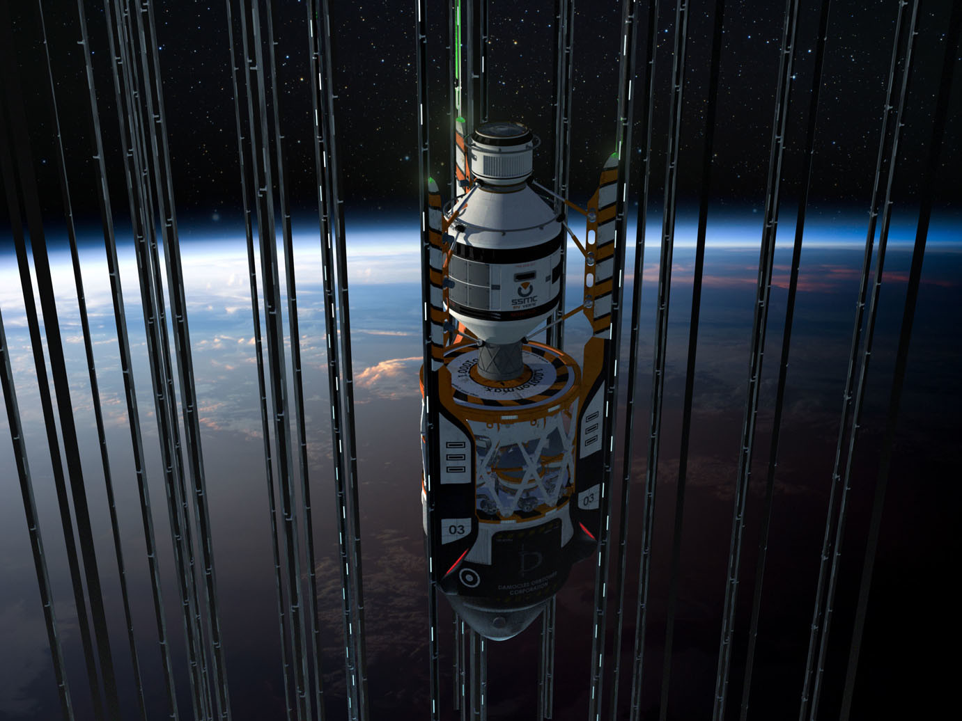 """Damocles is a large space port and elevator hub with stations fixed on [E]arth, located in an enormous, peaceful and very prosperous city, in a not-so-distant future.""\(^{[2]}\)   In the year 2117 the most economical way to send people and cargo to outer space is using a space elevator. It's not the quickest option but a very practical and effective one. Just like other similar Orbitowers placed on the Equator, the Damocles elevator hub provides this service.  Space freight elevators are crucial to carry large components of interplanetary and the earlier interstellar vehicles into orbit, so they can be assembled in space instead of being launched by rockets.   Autonomous trucks and cars arrive at the base's ground to take passengers and cargo to the space elevator cabs. Flying vehicles land on the pads. The building itself is headquarters for many logistics companies, there are some offices and a hotel.""\(^{[2]}\)  Artwork by Sergio Botero at Artstation. \(^{[2]}\)"