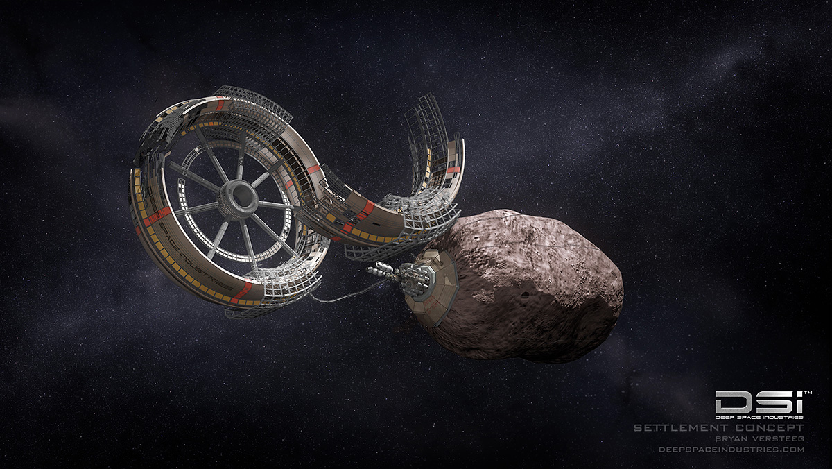 Asteroid settlement concept. Credit and Copyright: Bryan Versteeg / DSI.