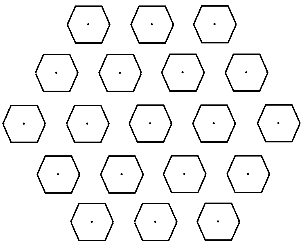 """Each of the hexagons in this figure represents one of the mirror farms shown in [previous image]. The dots are schematic representations of the habitats occupied by each twent-five-member ""band."" in reality the habitats would probably be much too small to be seen on this scale.""\(^{[37]}\)"