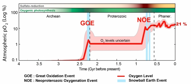 Diagram of the evolution of atmospheric oxygen concentration during the history of the planet. © Ido, Pierre Sans-Jofre