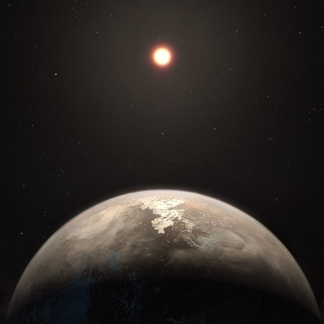Artist's impression of the planet  Ross 128 b , with the star Ross 128 visible in the background\(^{[1]}\)  Credit :   European Southern Observatory